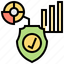 analysis, data, graph, protection, shield icon