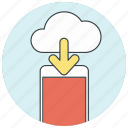 arrow, cloud, download, downloading, icloud, import, phone icon