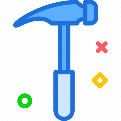 hammer, instruments, manualforiron, nails, tool, work icon