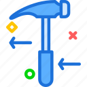 hammer, instruments, manualleft, nails, tool, work icon