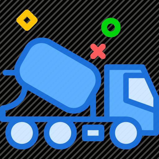 car, ciment, concrete, foundation, transport, truck icon
