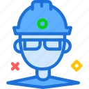 engineer, helmet, man, site icon