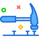 hammer, manualnails, nails, tool, work icon