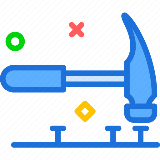 hammer, manualnails, nails, tool, work icon
