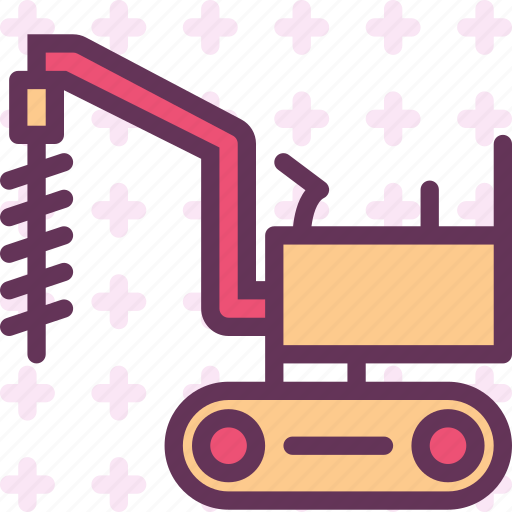 drill, hole, road, site, transport icon
