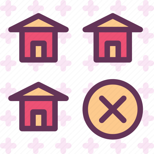 building, cancel, home, house icon
