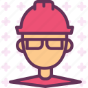 contruction, engineer, helmet, man, site icon