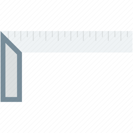 architecture ruler, geometry tool, measuring scale, ruler, try square icon