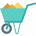 barrow, cart, hand cart, hand truck, wheelbarrow icon