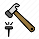 build, fabric, hammer, site, work icon