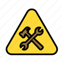 build, fabric, site, warning, work icon