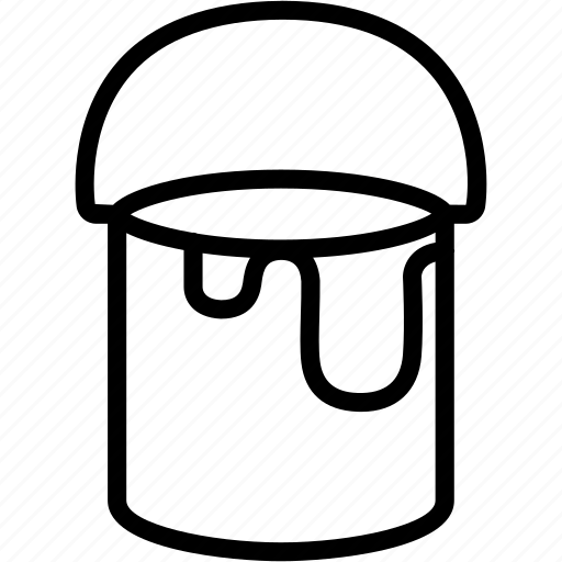 bucket, construction, equipment, paint, painting, tool icon