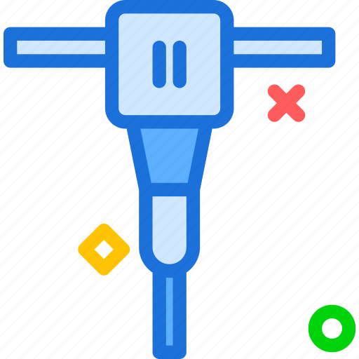 building, heavyhammer, instruments, machine, nails, road, tool icon