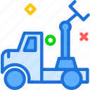 building, pull, car, site, machine, truck, transport icon