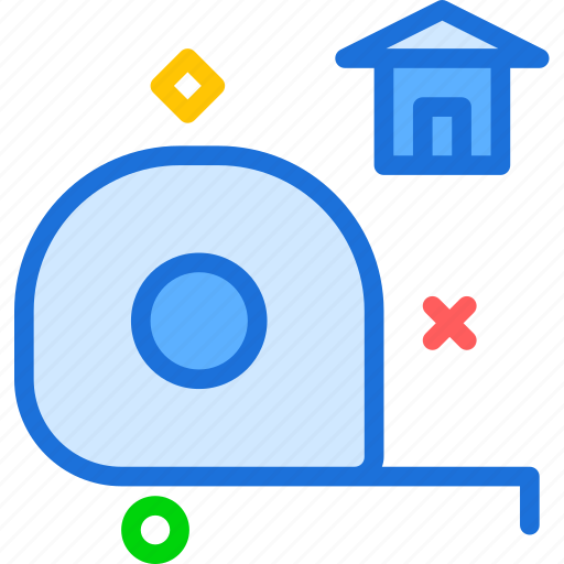 dimensions, measure, sizehome, tape icon