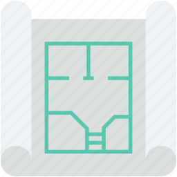 architecture, blueprint, construction map, construction plan, house plan icon