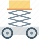 car jack, car lift, garage, lifting jack, trolley jack icon