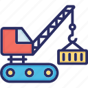 construction crane, excavator, industrial, industrial crane, lifting icon