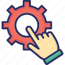 click gear, configuration, gear, implement, phase setting icon