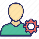 development, engineering, man with gear, mechanic, under construction icon