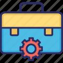cogwheel, engineer bag, engineer briefcase, manufacturing kit, mechanical kit icon