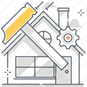 assemble, build, fix, hammer, house, nail, property icon