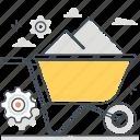 carry, cement, construction site, gear, tool, wheel, wheelbarrow icon