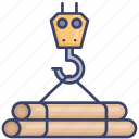 carry, construction, crane, equipment, hook, pipes icon