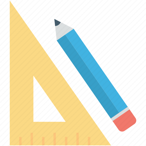 degree square, drafting tool, geometry tool, pencil, set square icon