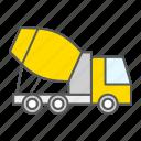 concrete, truck, construction, vehicle, mixer, cement icon