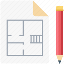 architecture, blueprint, document, edit, house plan, paper, pen icon