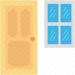 apartment window, door, furniture, home interior, home window icon