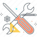 edit, screwdriver, settings, tools, wrench icon