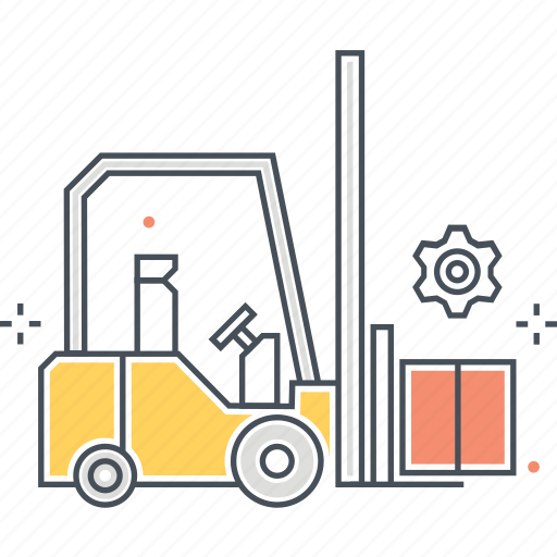 box, carry, forklift, lift, market, up icon
