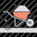 cart, sand, construction, cement, wheelbarrow, carry, barrow