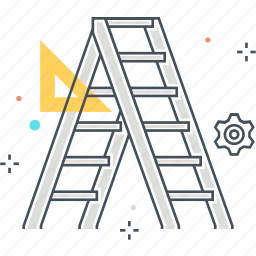 climb up, construction, fix, house, ladder, renovate, tool icon