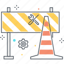 block, cone, construction, forbidden, road, sign, under