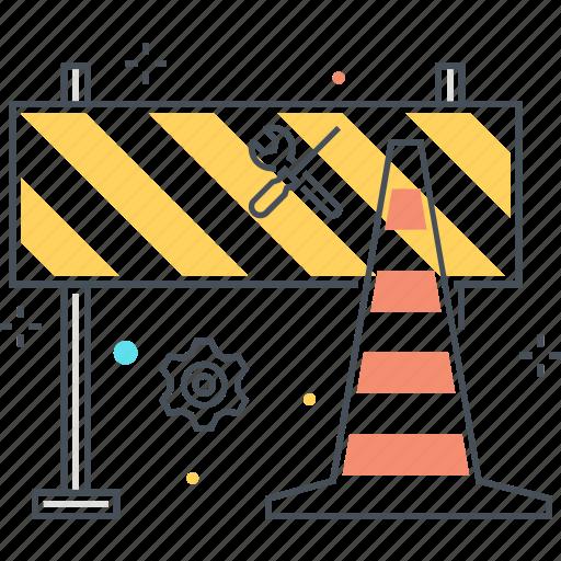 block, cone, construction, forbidden, road, sign, under icon