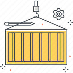 box, container, crane, ship, shipment icon