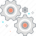 cog wheels, gears, machine, settings, work icon