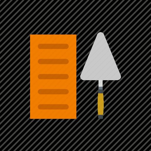 brick, construction, industry, instrument, tool, trowel, work icon