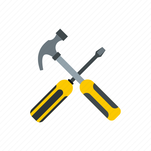 carpentry, construction, equipment, hammer, screwdriver, tool, work icon