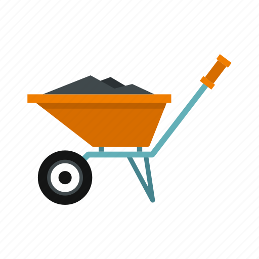 construction, debris, dirty, dust, material, waste, wheelbarrow icon
