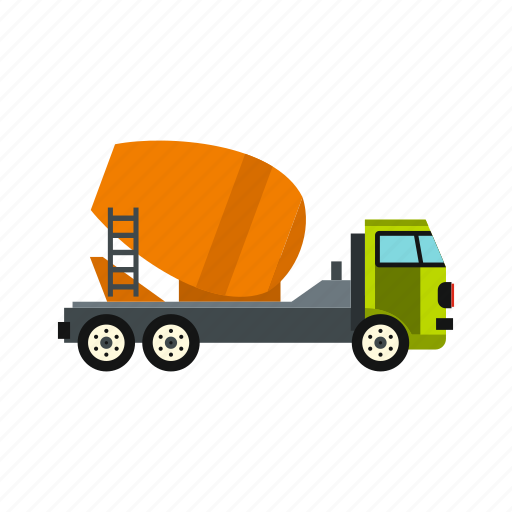 cabin, cement, construction, equipment, mixer, truck, wheel icon