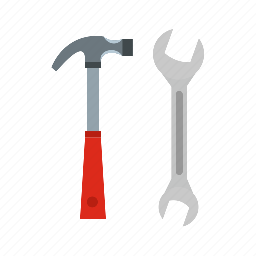 carpentry, construction, equipment, hammer, tool, work, wrench icon