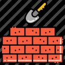 spade, bricks, wall, construction icon