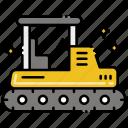 bulldozer, construction, vehicle icon
