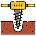 drilling, drill, tool, construction icon