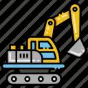 construction, excavator, vehicle icon