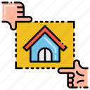 framing, hands, house, picture